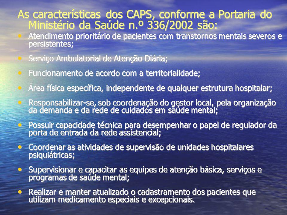 As características dos CAPS, conforme a Portaria do Ministério da Saúde n.º 336/2002 são: