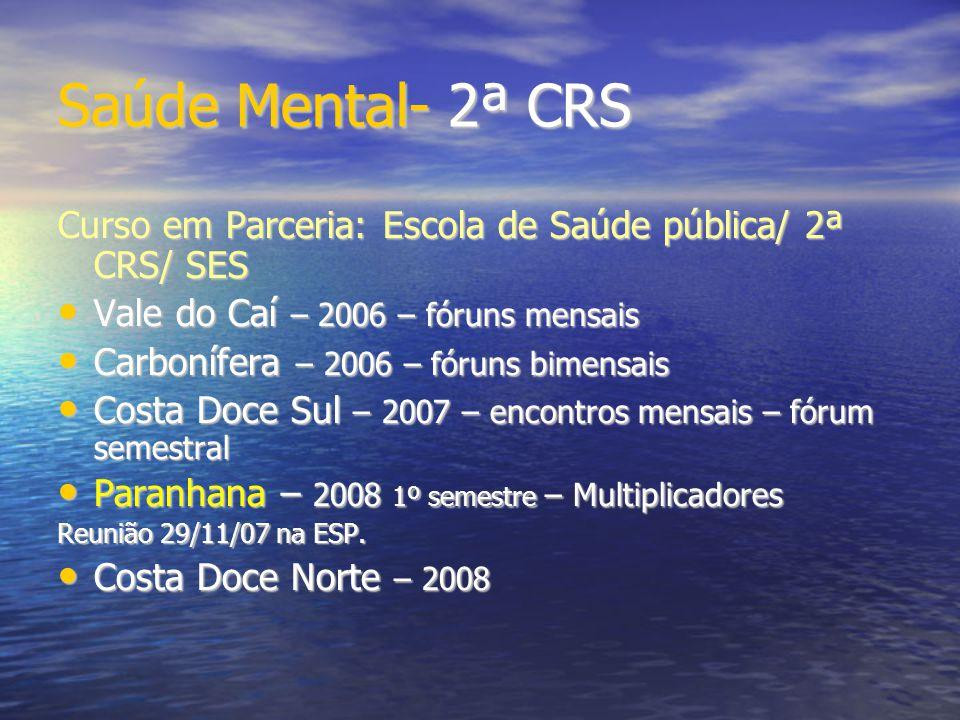 Saúde Mental- 2ª CRS Curso em Parceria: Escola de Saúde pública/ 2ª CRS/ SES. Vale do Caí – 2006 – fóruns mensais.