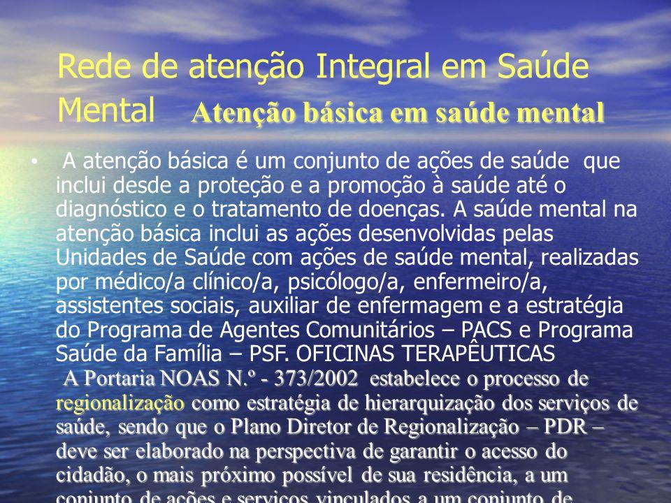 Rede de atenção Integral em Saúde Mental Atenção básica em saúde mental