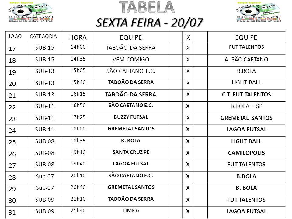 TABELA SEXTA FEIRA - 20/07 HORA EQUIPE X 17 18 19 20 21 22 23 24 25 26