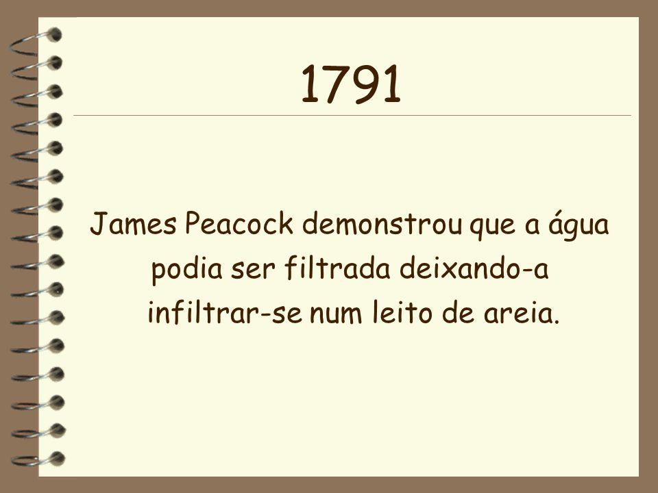 1791 James Peacock demonstrou que a água podia ser filtrada deixando-a