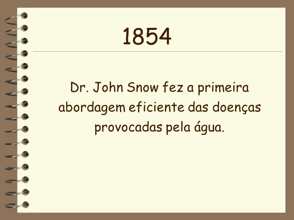 1854 Dr. John Snow fez a primeira abordagem eficiente das doenças