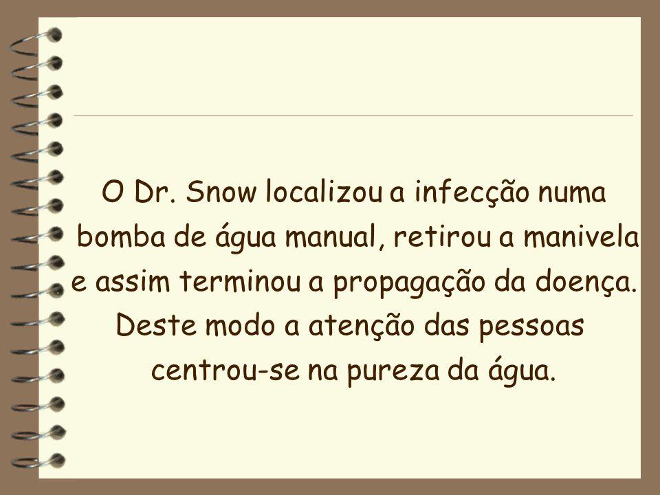 O Dr. Snow localizou a infecção numa
