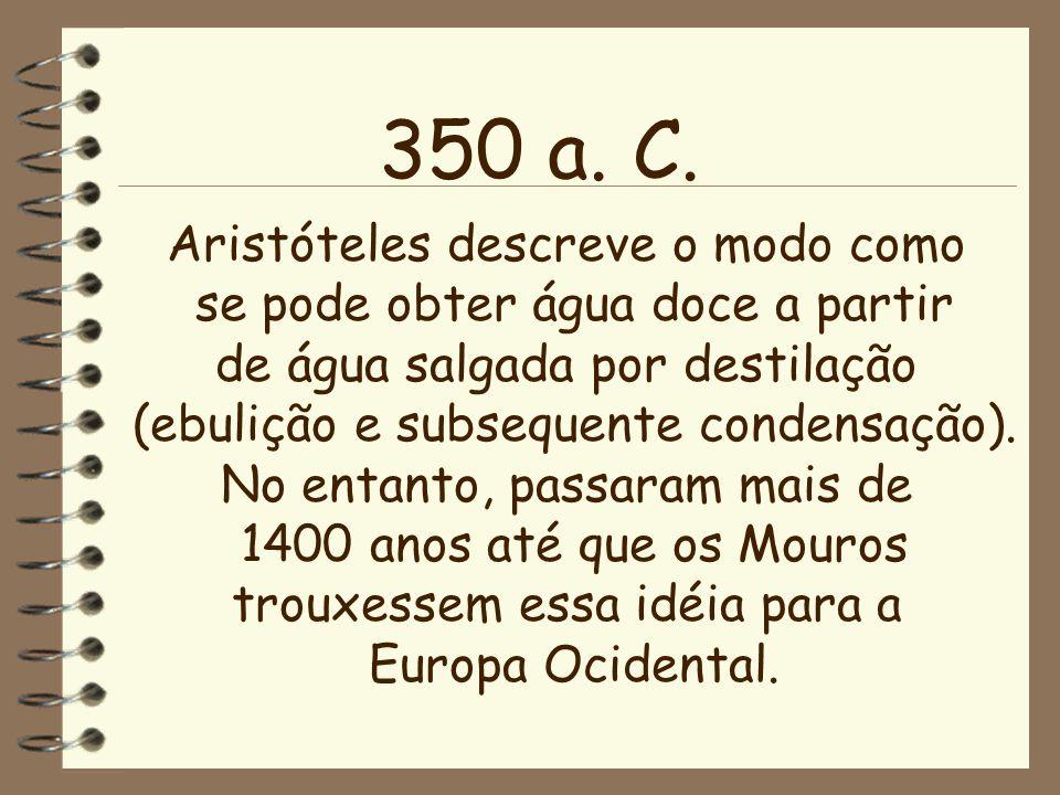 350 a. C. Aristóteles descreve o modo como