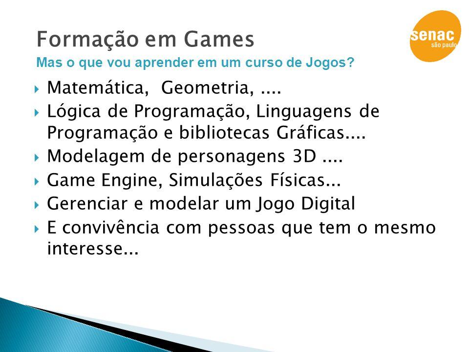 Formação em Games Matemática, Geometria, ....
