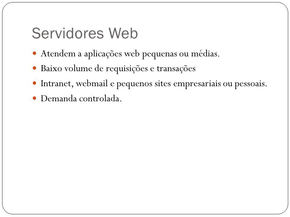 Servidores Web Atendem a aplicações web pequenas ou médias.