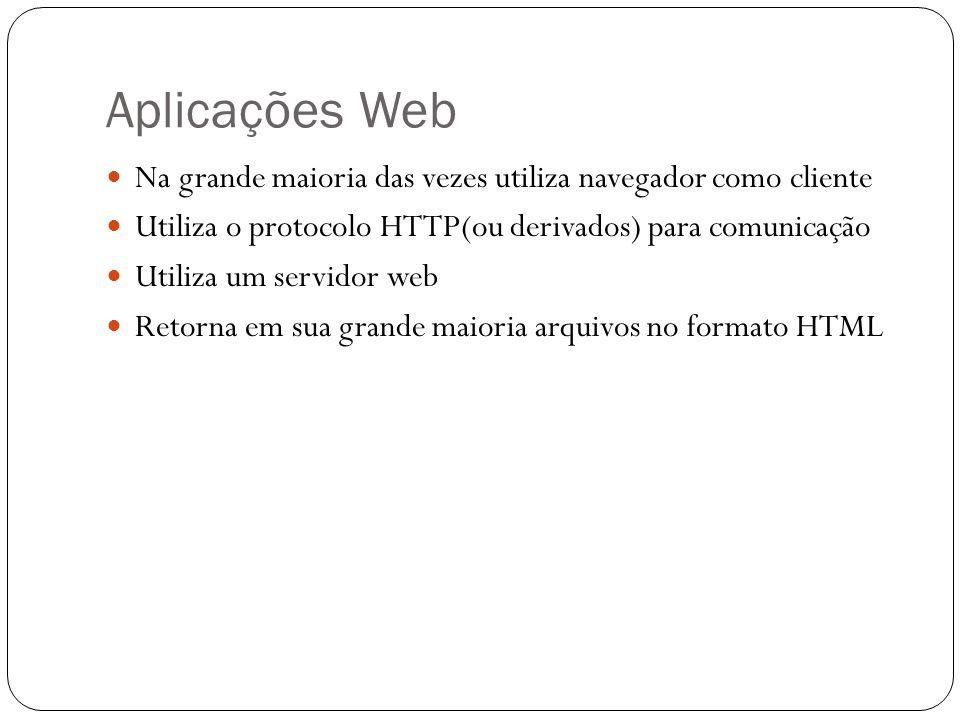 Aplicações Web Na grande maioria das vezes utiliza navegador como cliente. Utiliza o protocolo HTTP(ou derivados) para comunicação.