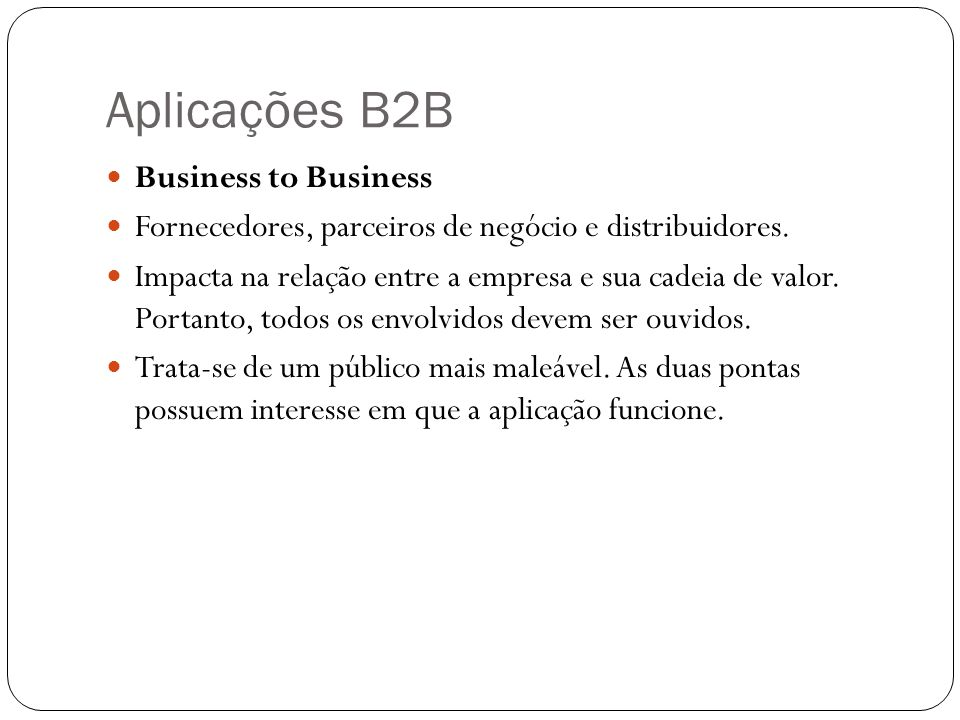 Aplicações B2B Business to Business