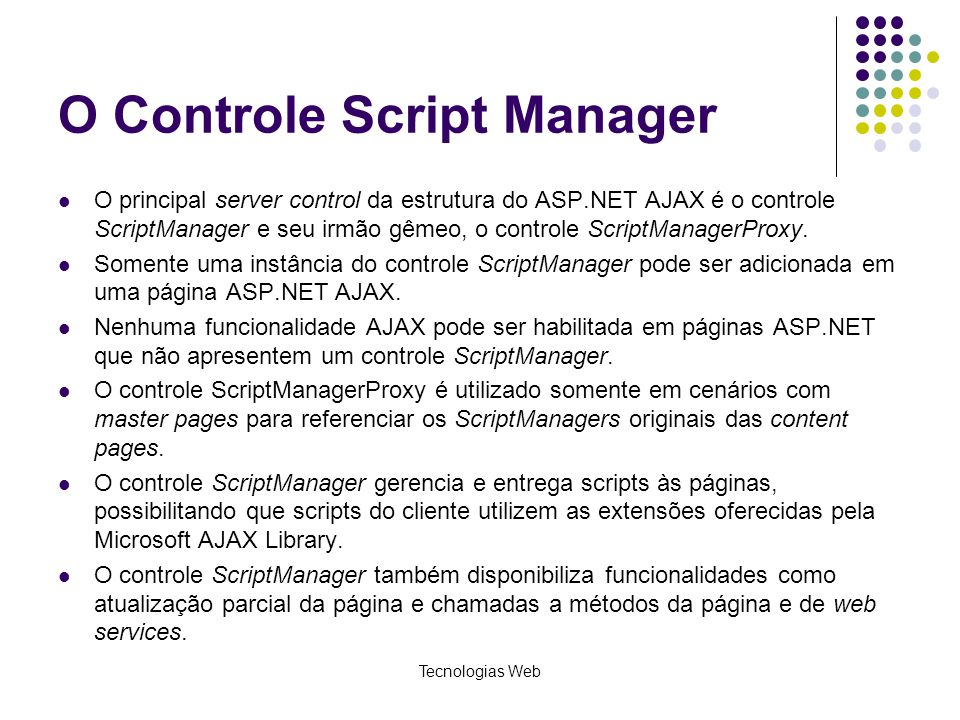 O Controle Script Manager