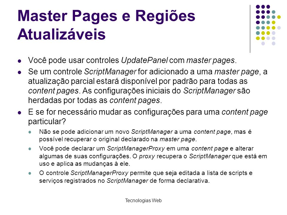 Master Pages e Regiões Atualizáveis