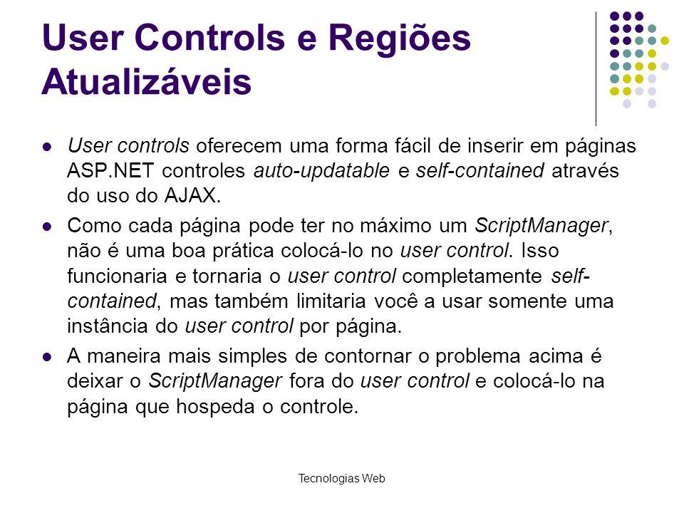 User Controls e Regiões Atualizáveis