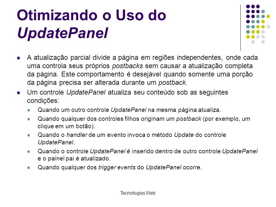 Otimizando o Uso do UpdatePanel