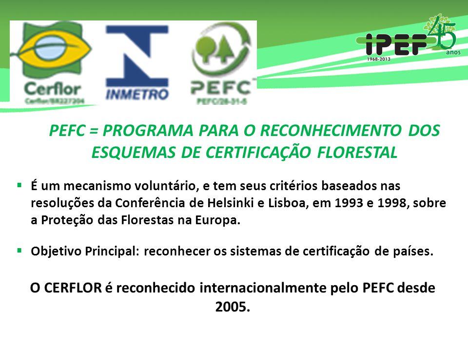 O CERFLOR é reconhecido internacionalmente pelo PEFC desde 2005.