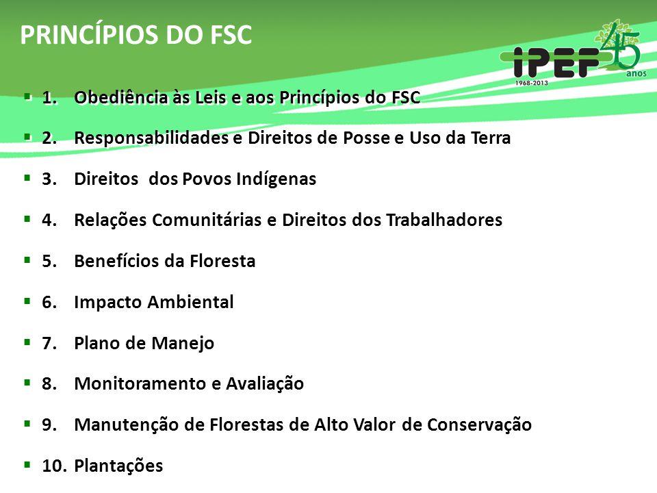PRINCÍPIOS DO FSC 1. Obediência às Leis e aos Princípios do FSC