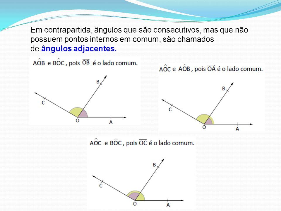 Em contrapartida, ângulos que são consecutivos, mas que não possuem pontos internos em comum, são chamados