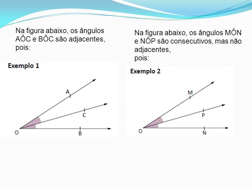 Na figura abaixo, os ângulos AÔC e BÔC são adjacentes, pois: