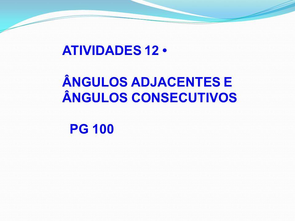 ATIVIDADES 12 • ÂNGULOS ADJACENTES E ÂNGULOS CONSECUTIVOS PG 100