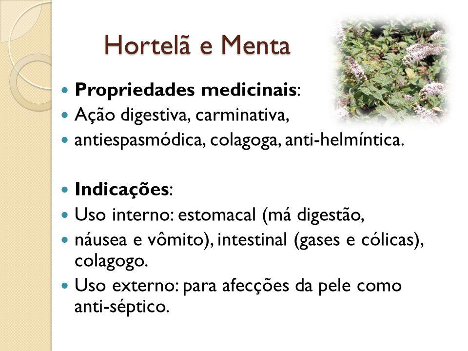 Hortelã e Menta Propriedades medicinais: Ação digestiva, carminativa,