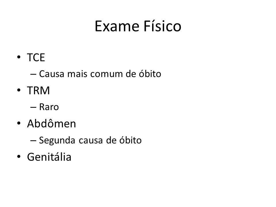 Exame Físico TCE TRM Abdômen Genitália Causa mais comum de óbito Raro