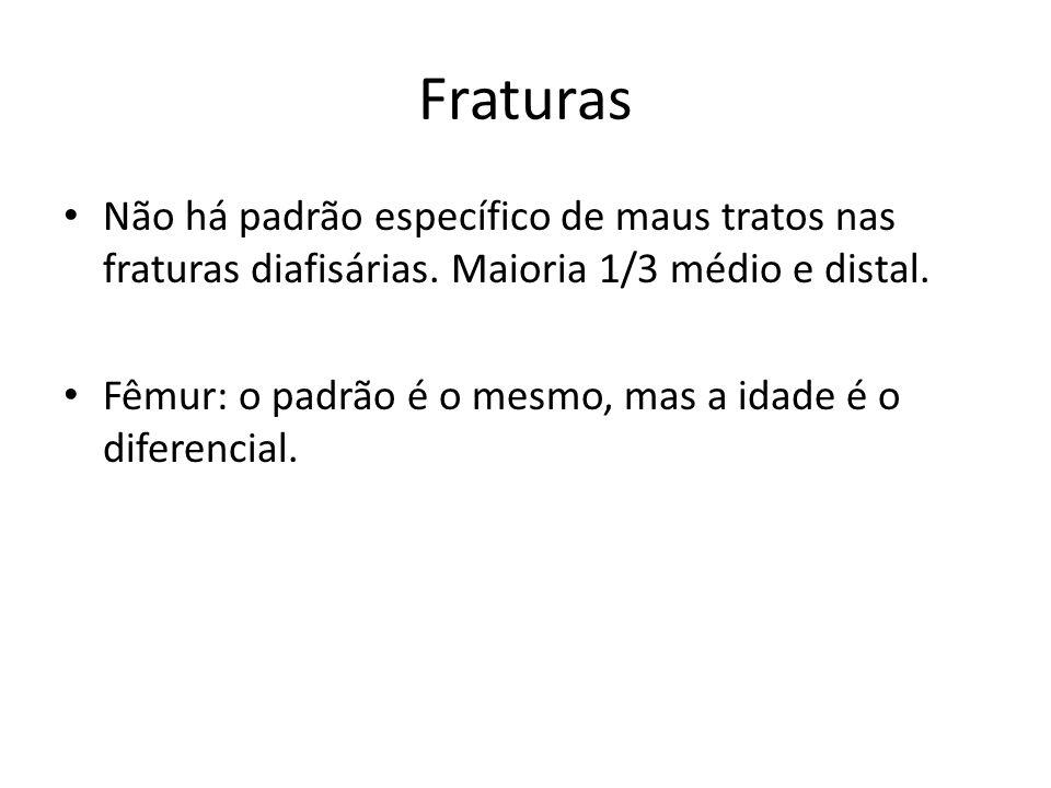 Fraturas Não há padrão específico de maus tratos nas fraturas diafisárias. Maioria 1/3 médio e distal.