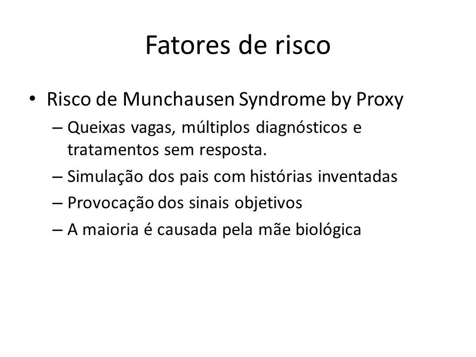 Fatores de risco Risco de Munchausen Syndrome by Proxy
