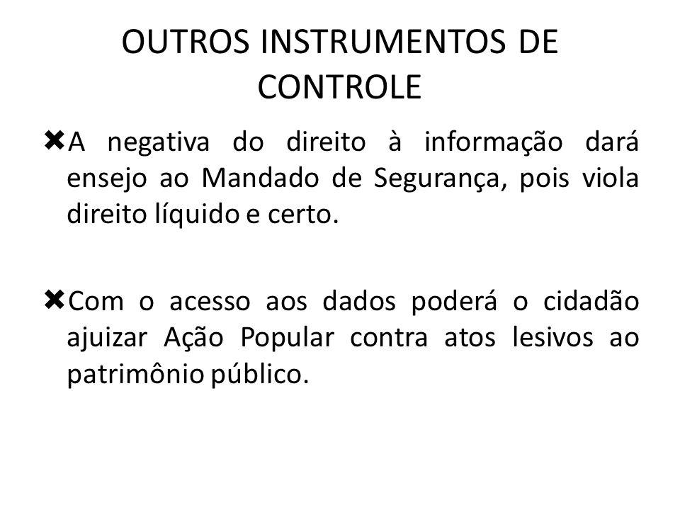 OUTROS INSTRUMENTOS DE CONTROLE