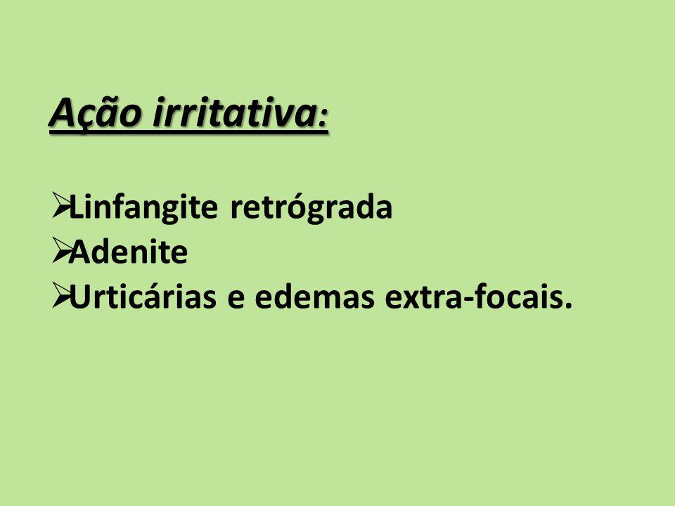 Ação irritativa: Linfangite retrógrada Adenite