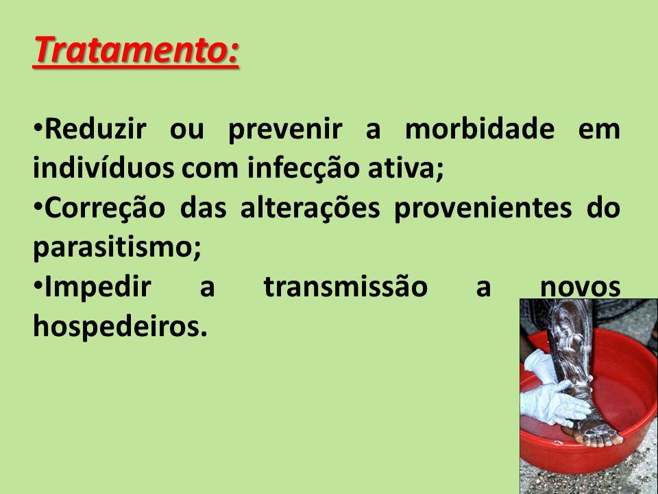 Tratamento: Reduzir ou prevenir a morbidade em indivíduos com infecção ativa; Correção das alterações provenientes do parasitismo;