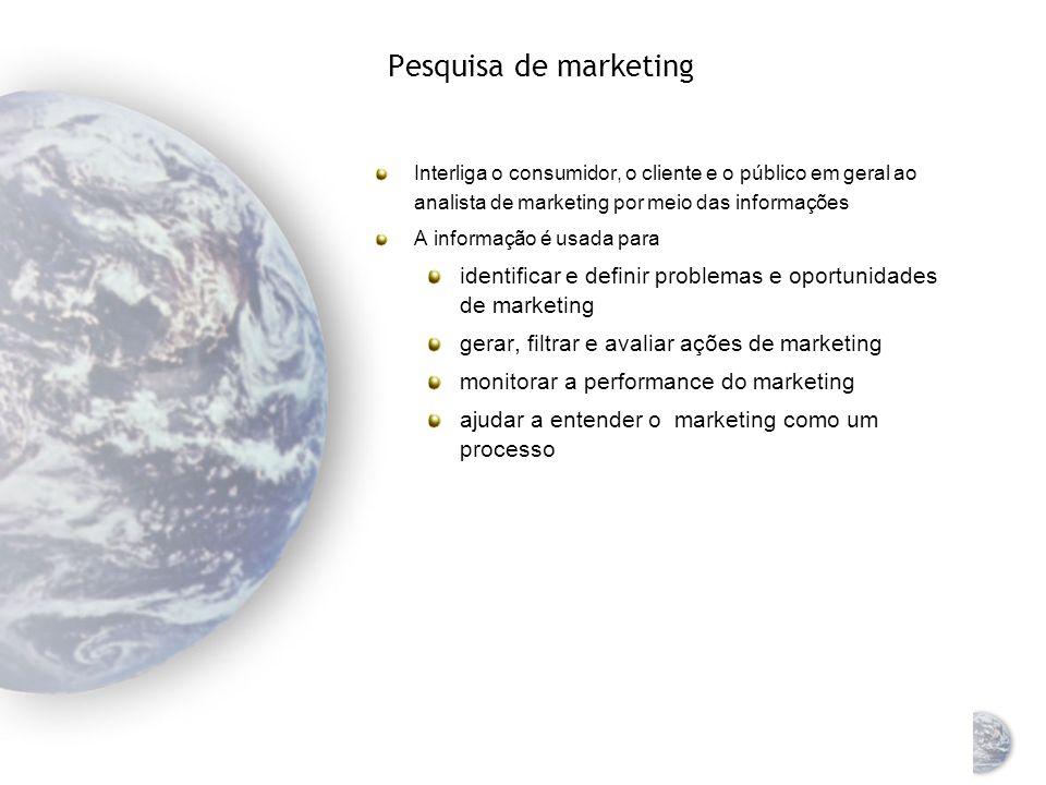 Pesquisa de marketing Interliga o consumidor, o cliente e o público em geral ao analista de marketing por meio das informações.