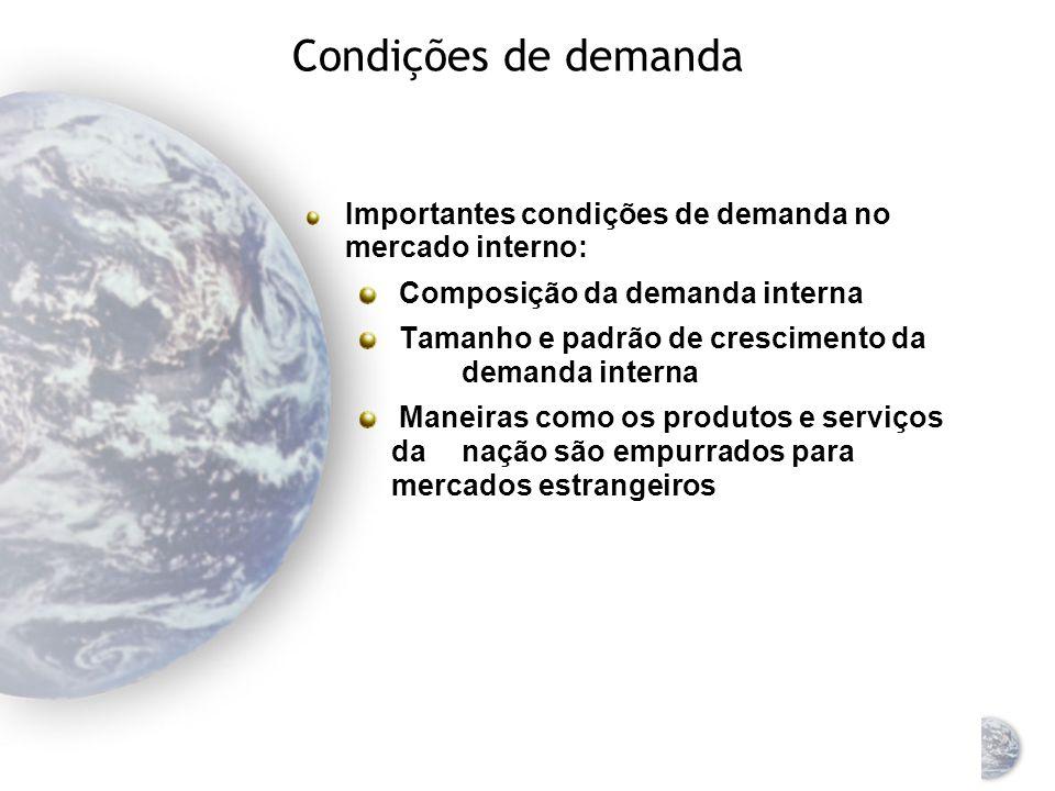 Condições de demanda Importantes condições de demanda no mercado interno: Composição da demanda interna.