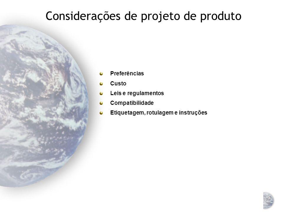 Considerações de projeto de produto