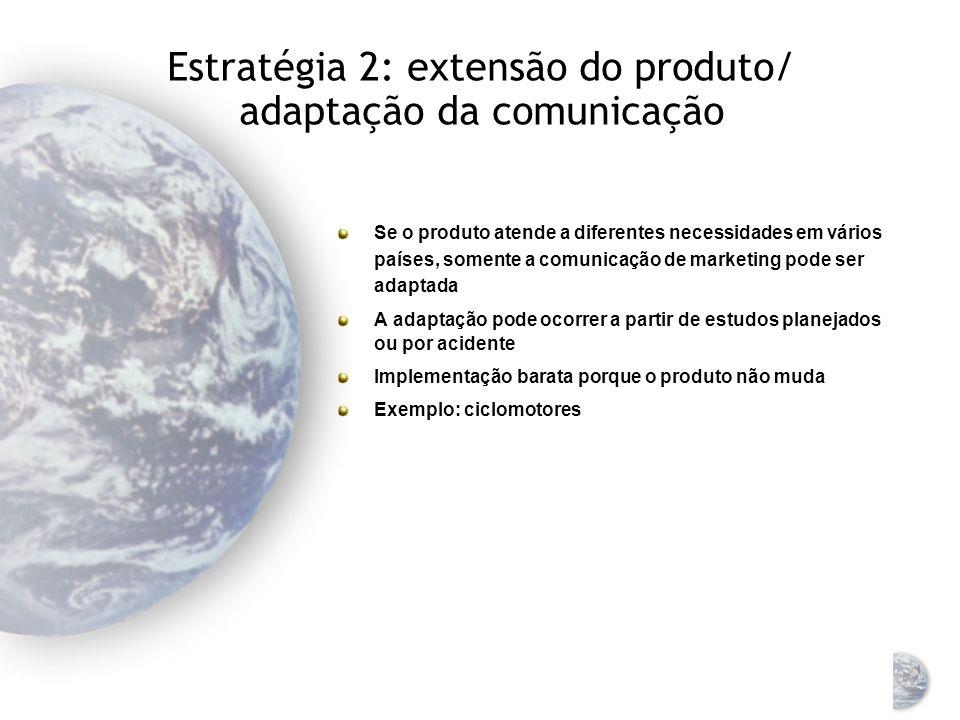 Estratégia 2: extensão do produto/ adaptação da comunicação