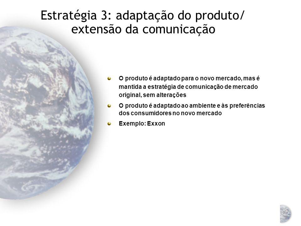 Estratégia 3: adaptação do produto/ extensão da comunicação