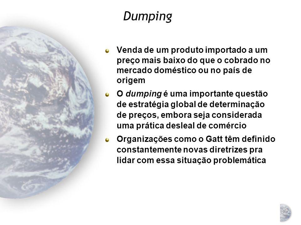 Dumping Venda de um produto importado a um preço mais baixo do que o cobrado no mercado doméstico ou no país de origem.