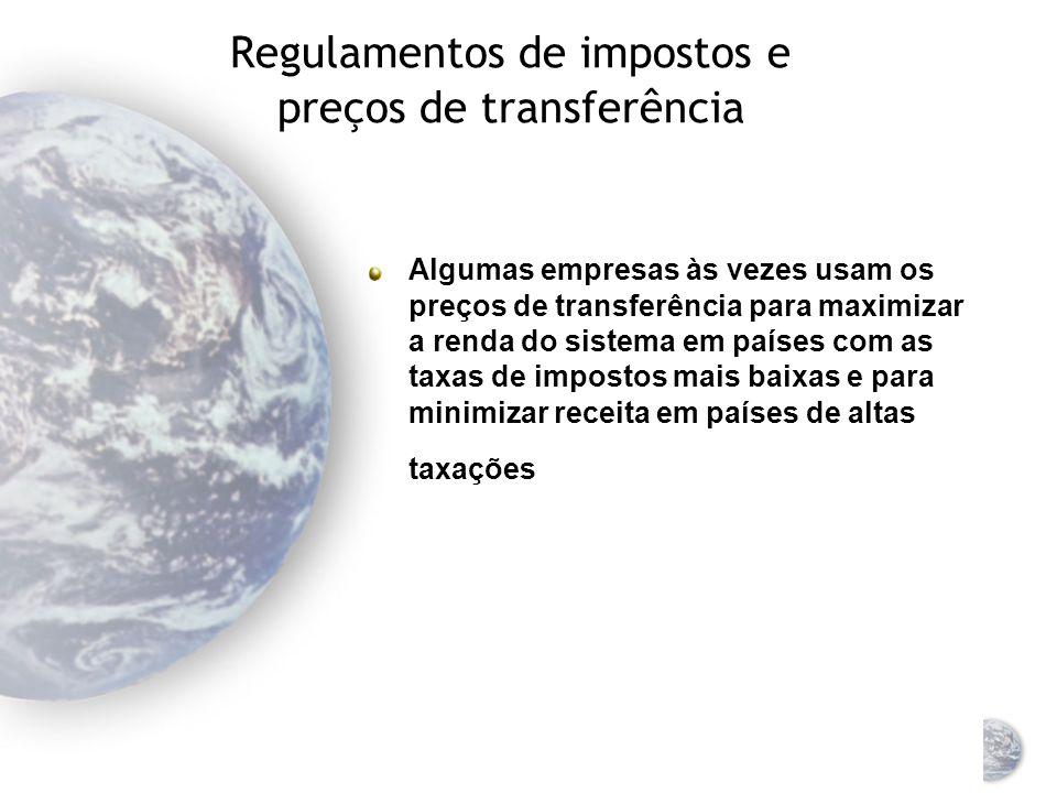 Regulamentos de impostos e preços de transferência