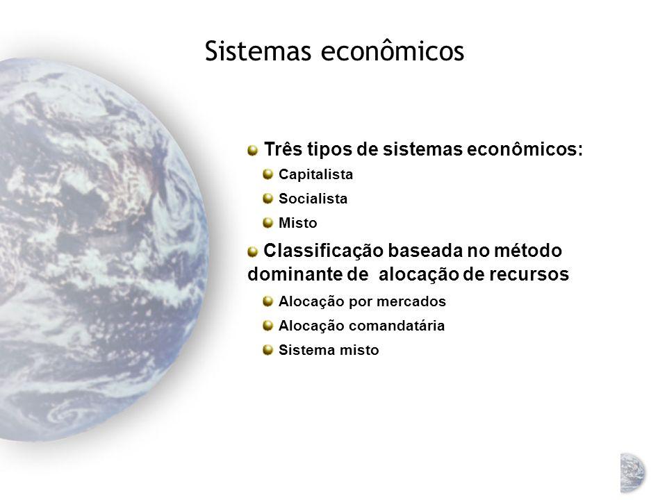 Sistemas econômicos Três tipos de sistemas econômicos: