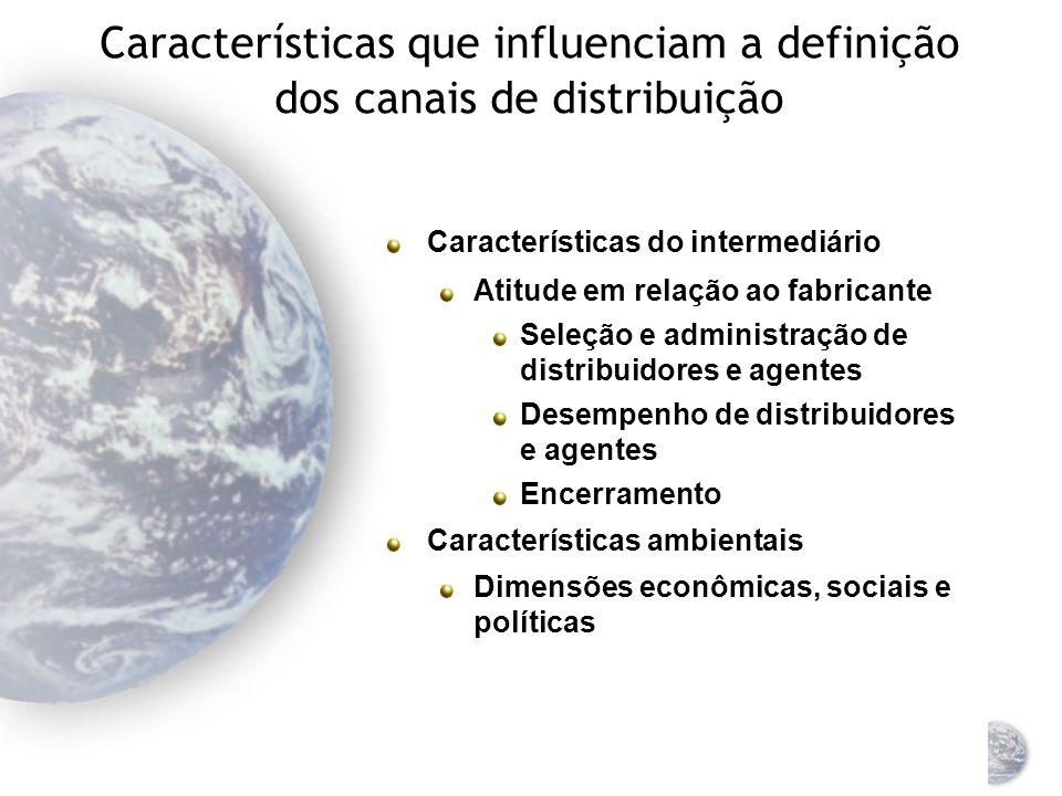 Características que influenciam a definição dos canais de distribuição