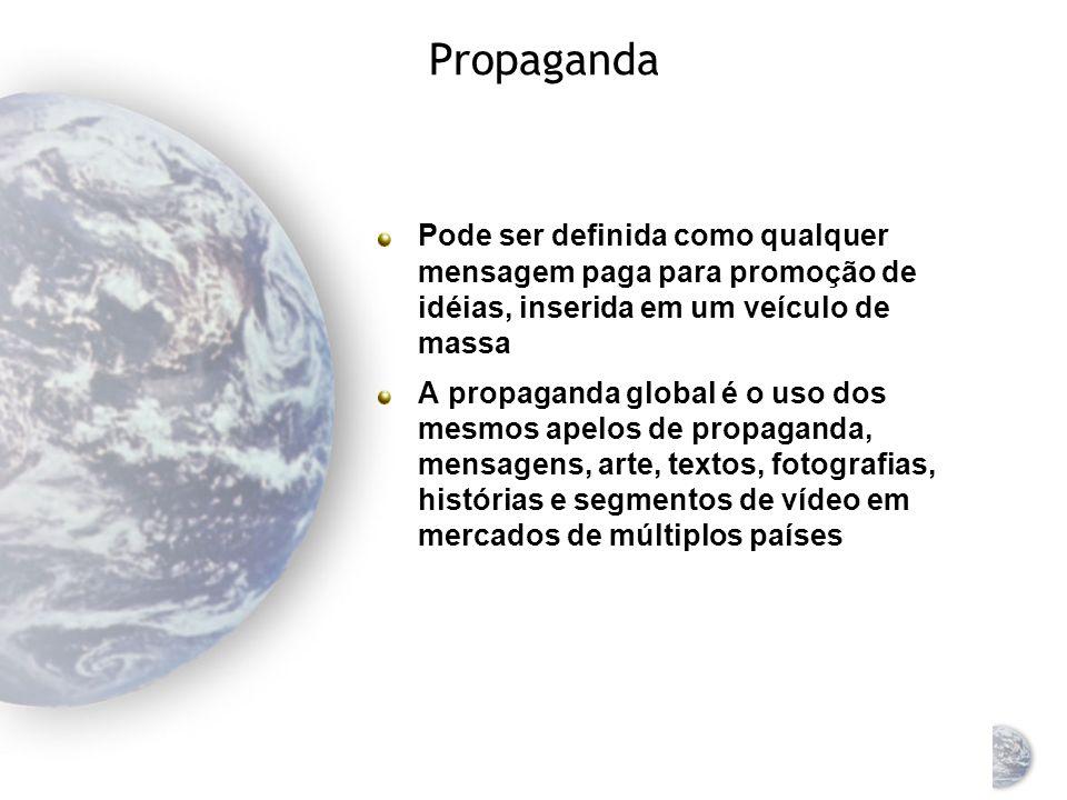 Propaganda Pode ser definida como qualquer mensagem paga para promoção de idéias, inserida em um veículo de massa.