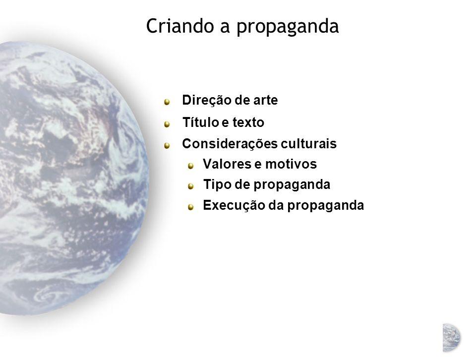 Criando a propaganda Direção de arte Título e texto