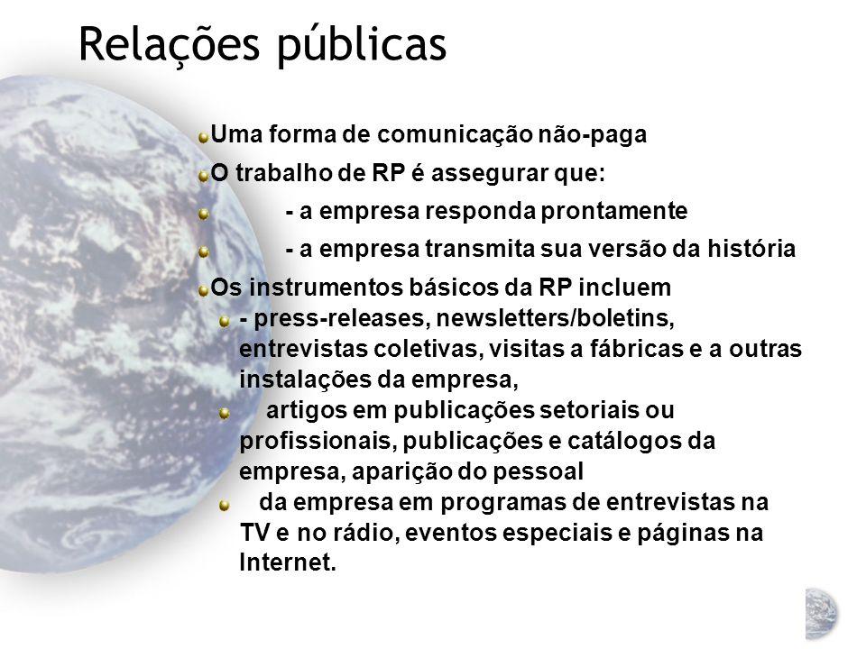Relações públicas Uma forma de comunicação não-paga