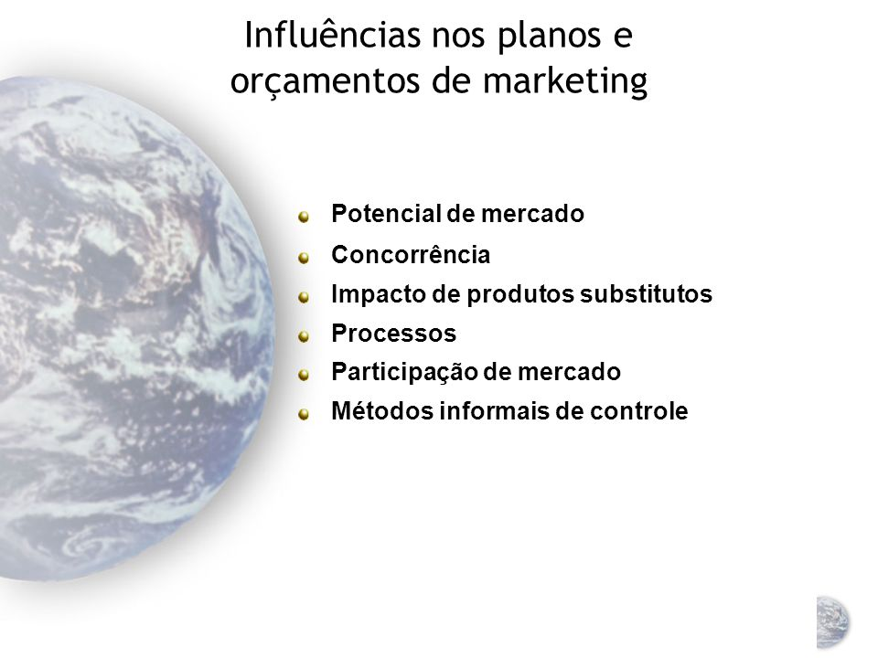 Influências nos planos e orçamentos de marketing