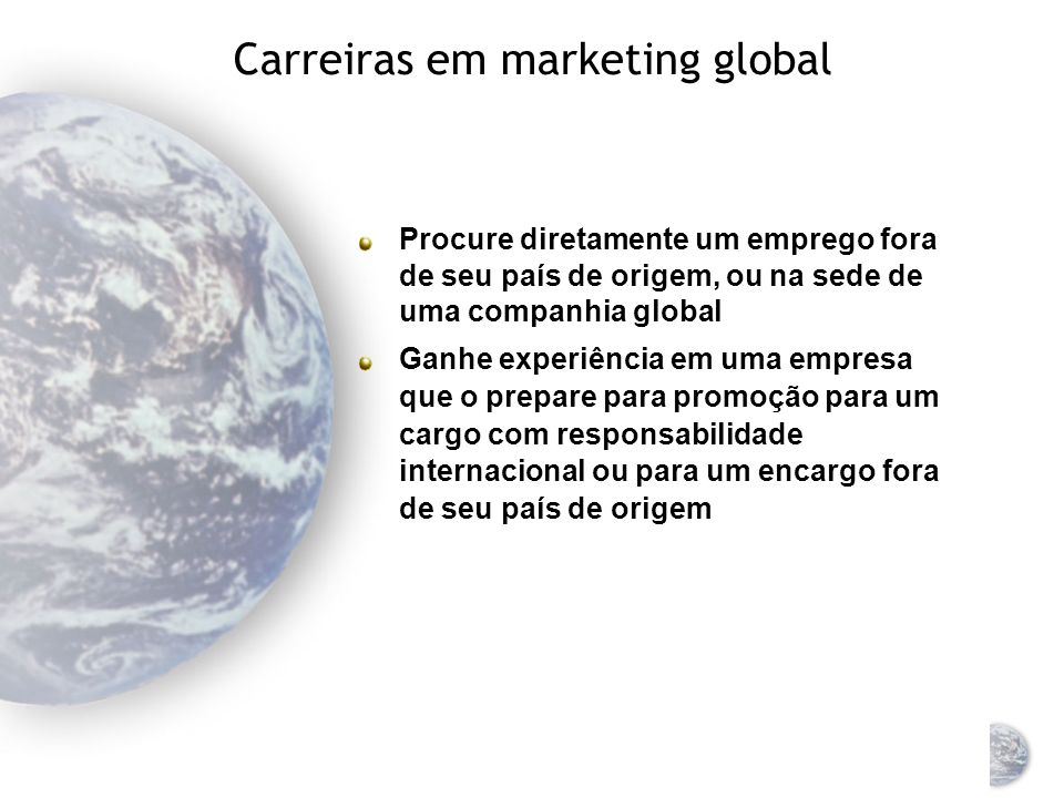 Carreiras em marketing global