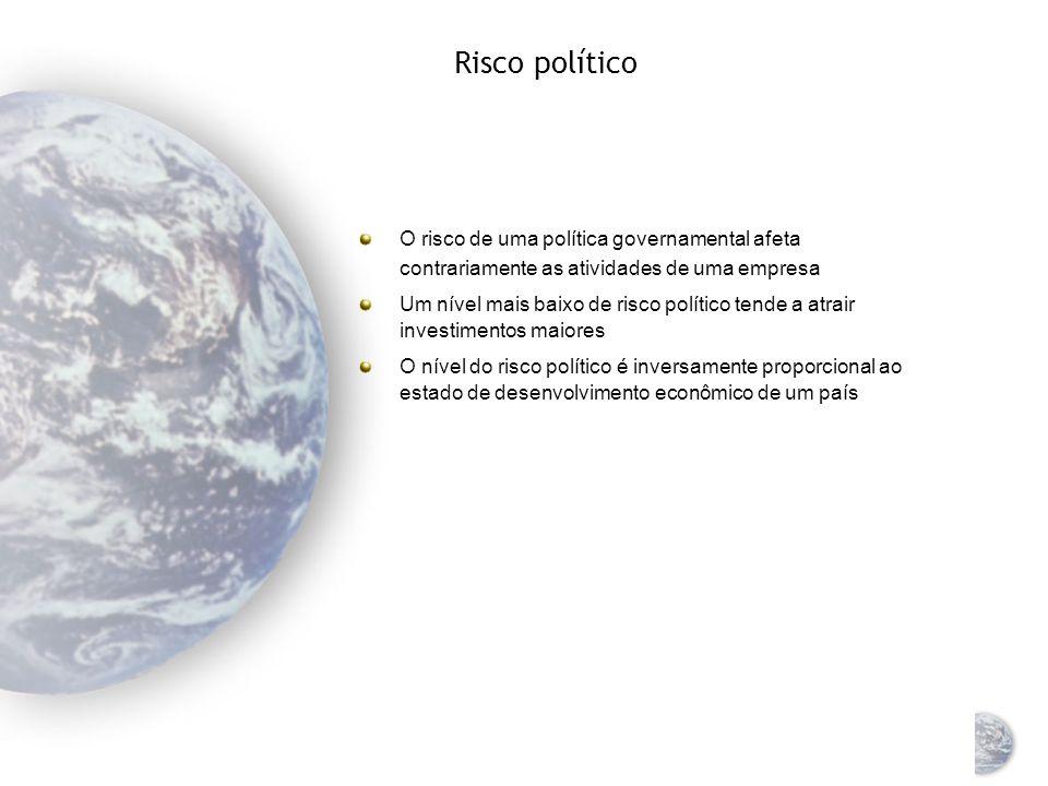 Risco político O risco de uma política governamental afeta contrariamente as atividades de uma empresa.