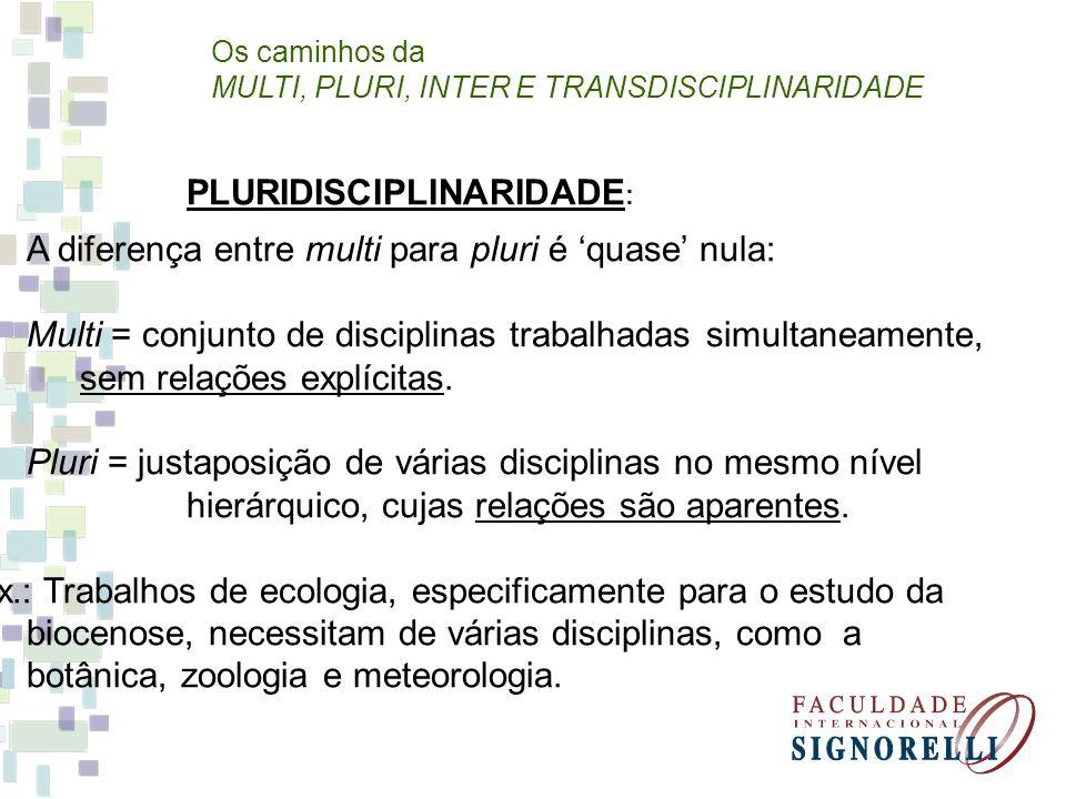 PLURIDISCIPLINARIDADE:
