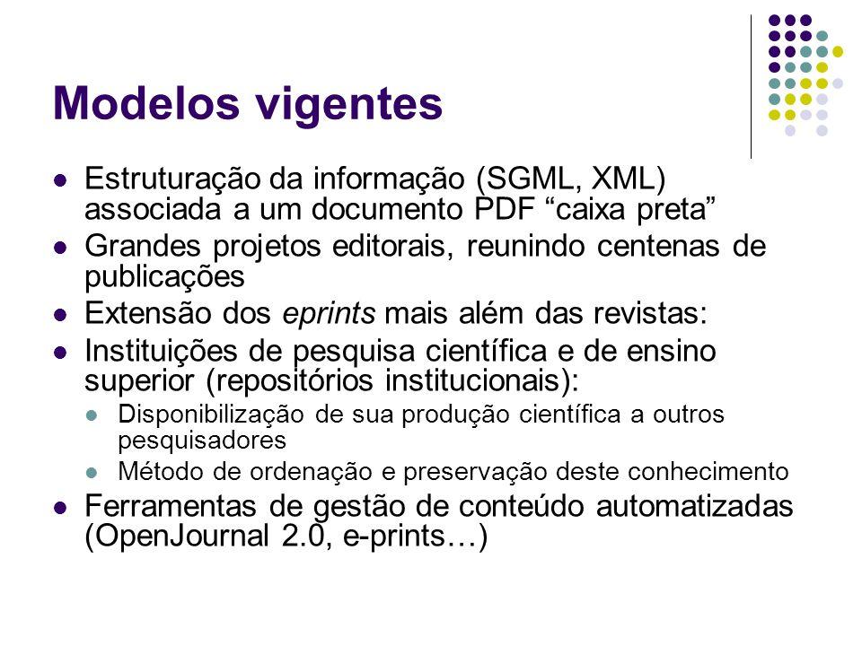 Modelos vigentes Estruturação da informação (SGML, XML) associada a um documento PDF caixa preta