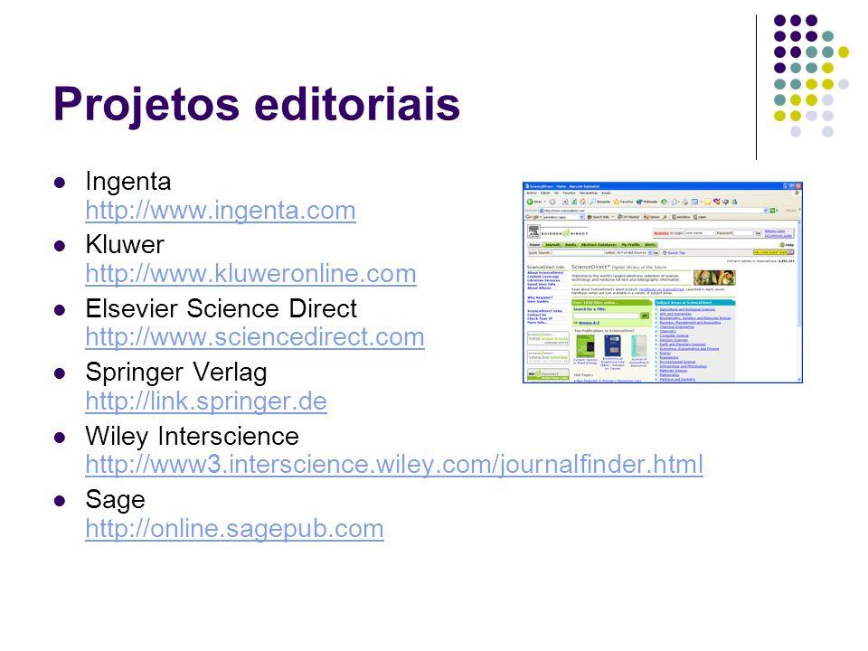 Projetos editoriais Ingenta http://www.ingenta.com
