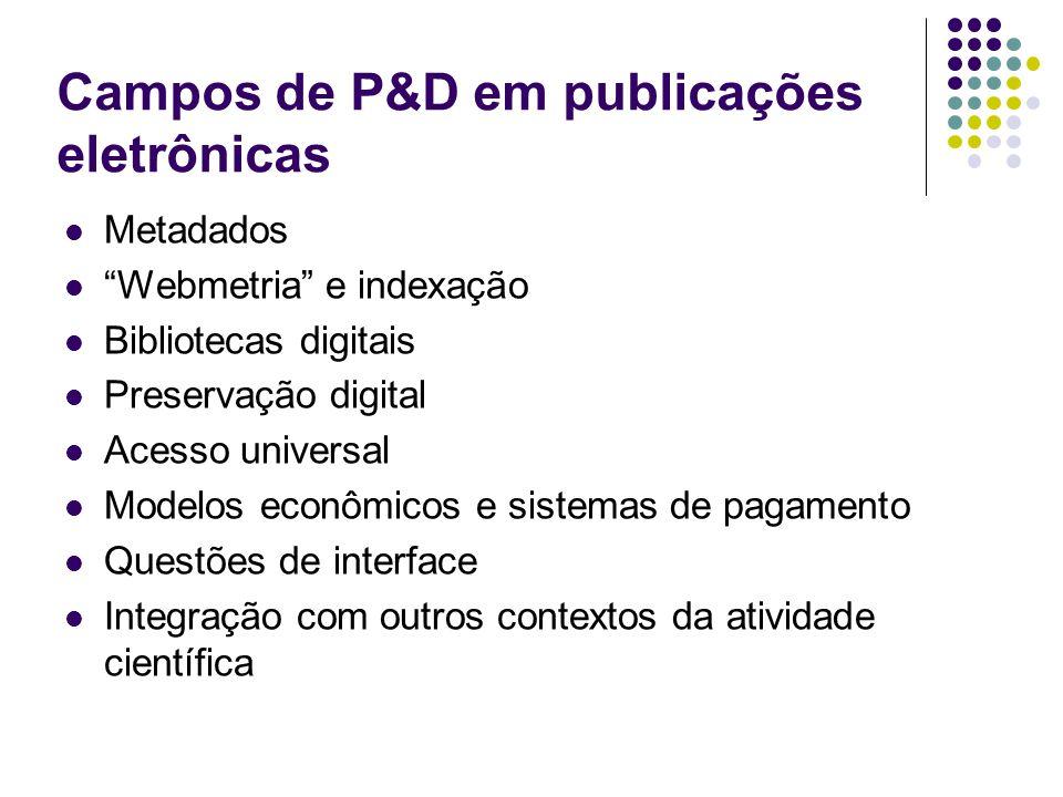 Campos de P&D em publicações eletrônicas