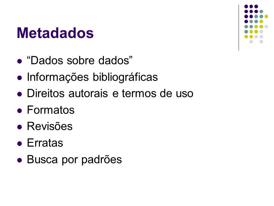 Metadados Dados sobre dados Informações bibliográficas