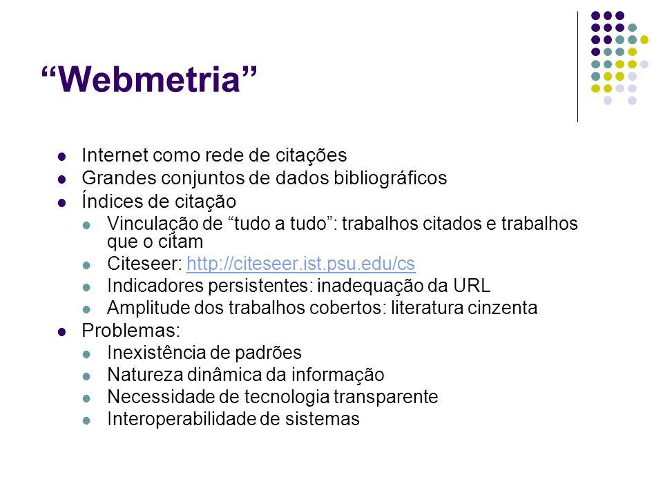 Webmetria Internet como rede de citações