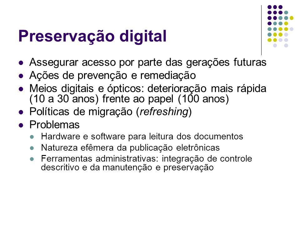 Preservação digital Assegurar acesso por parte das gerações futuras